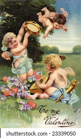 A circa 1906 Victorian Valentine greeting illustration, with cupids, hearts, flowers and musical instruments
