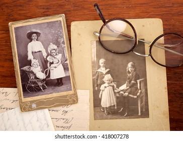 CIRCA 1915: Vintage family portraits of children