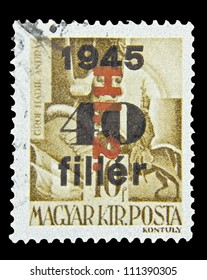 "CIRCA 1945: stamp printed in Hungary, shows a portrait of Andre Hadik, with the same inscription and with Overprint, from the series ""Characters of Hungarian History"", circa 1945"