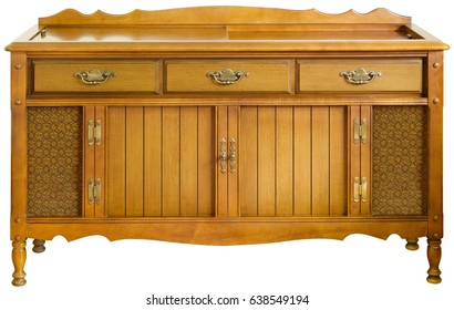Circa 1970s  Hi-Fi stereo console, isolated image on white background