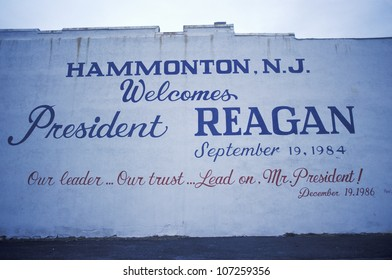 "CIRCA 1987 - A sign that reads ""Welcome President Reagan"""