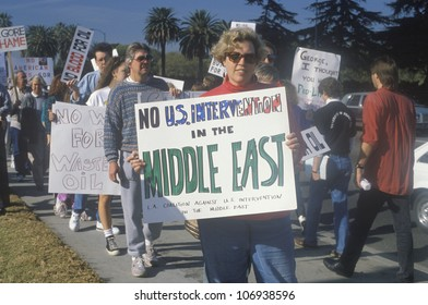 CIRCA 1991 - Americans protesting war in Middle East, Los Angeles, California