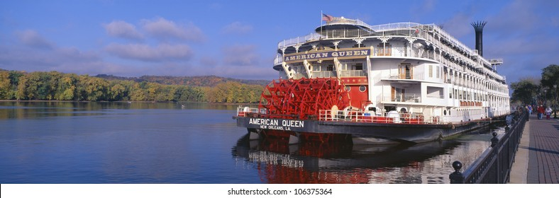 CIRCA 2000 - American Queen paddlewheel ship on Mississippi River, Wisconsin