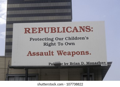 CIRCA 2005 - Large sign for gun control protesting against Republican party