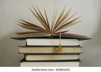 CIRCA 2008: Stack of books
