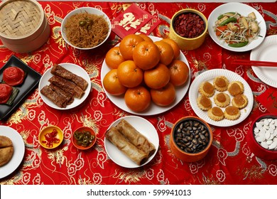 CIRCA 2011: Table set with Chinese New Year food.