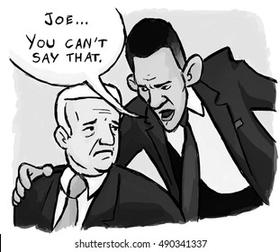 "CIRCA 2012:  President Barack Obama cautions Vice President Joe Biden, ""Joe, you can't say that."""
