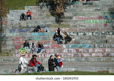 CIRCA APRIL 2007 - BERLIN: people in the Mauerpark in the Prenzlauer Berg district of Berlin.