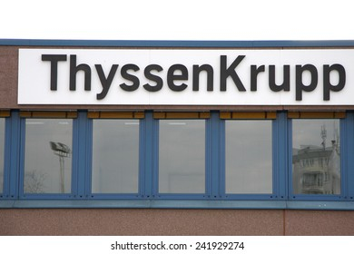 "CIRCA APRIL 2008 - BERLIN: the logo of the brand ""Thyssen Krupp"", Berlin."