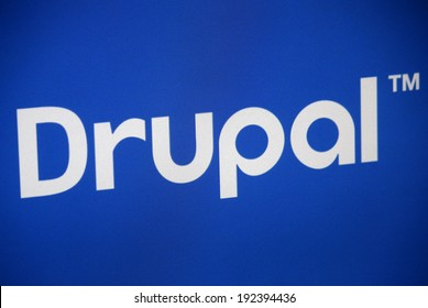 "CIRCA APRIL 2014 - BERLIN: the logo of the brand ""Drupal"", Berlin."