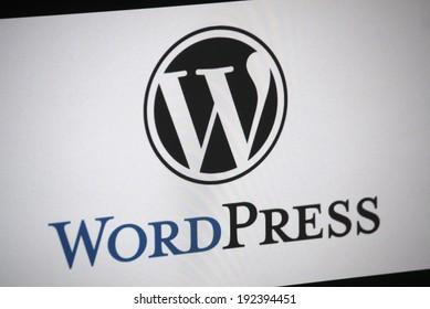 "CIRCA APRIL 2014 - BERLIN: the logo of the brand ""Wordpress"", Berlin."