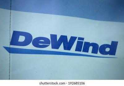"CIRCA APRIL 2014 - BERLIN: the logo of the brand ""Dewind"", Berlin."