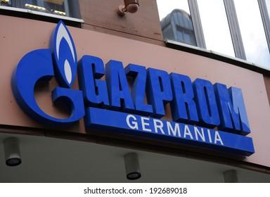 "CIRCA APRIL 2014 - BERLIN: the logo of the brand ""Gazprom"", Berlin."