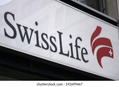 "CIRCA APRIL 2014 - BERLIN: the logo of the brand ""Swiss Life"", Berlin."