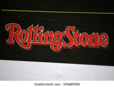 "CIRCA APRIL 2014, BERLIN: the logo of the brand ""Rolling Stone"", Berlin."