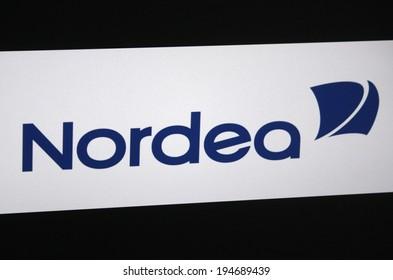 """CIRCA APRIL 2014, BERLIN: the logo of the brand """"Nordea"""", Berlin."""
