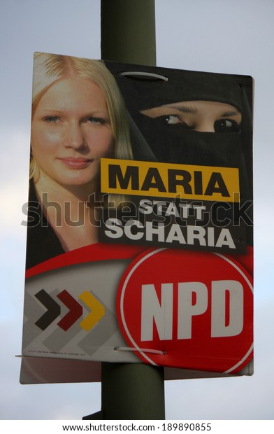 "CIRCA APRIL 2014 - BERLIN: a poster to the upcoming european elections of the right wing extremist party ""NPD"" with a xenophobic slogan, Berlin."