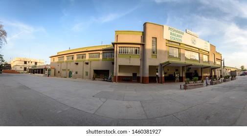 Circa April 8, 2019 Peshawar. Pakistan. Building of Peshawar railway station.