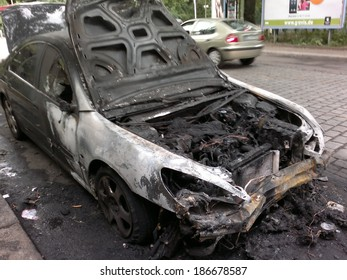CIRCA AUGUST 2013 - BERLIN: a burned out car in the Wedding district of Berlin - vandalism acts like this have become a common sight in Berlin these days.