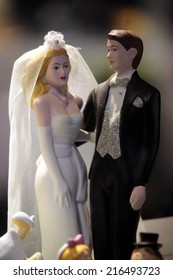 CIRCA AUGUST 2014 - BERLIN: figures of a couple in a wedding situation - symbolic image for marriage, Berlin.