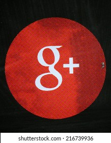 "CIRCA AUGUST 2014 - BERLIN: the logo of the brand ""Google Plus"", Berlin."