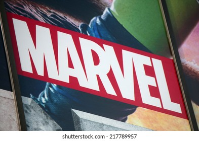 "CIRCA AUGUST 2014 - BERLIN: the logo of the brand ""Marvel"", Berlin."