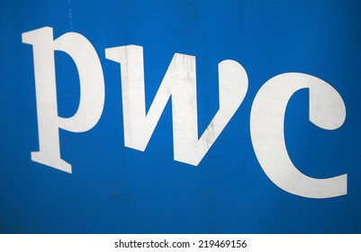 "CIRCA AUGUST 2014 - BERLIN: the logo of the brand ""pwc"", Berlin."