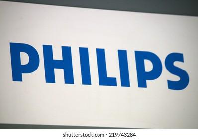 "CIRCA AUGUST 2014 - BERLIN: the logo of the brand ""Philips"", Berlin."