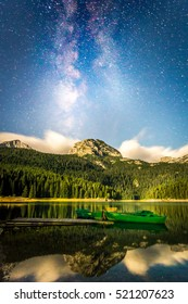 Circa August 2014. Long exposure photograph representing the milky way above the black lake in the Durmitor national park in Montenegro. Editorial Content