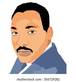 CIRCA DECEMBER 2015 - Washington D.C.: An illustration of a portrait of Martin Luther King, Jr. at the Lincoln Memorial, Washington, D.C. on a white background.