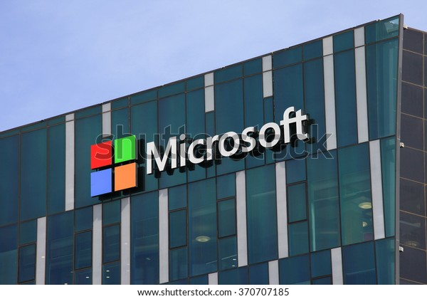 Circa, Circa - February 1, 2016: Microsoft logo and emblem. Microsoft is an international corporation that develops, supports and sells computer software and services worldwide.