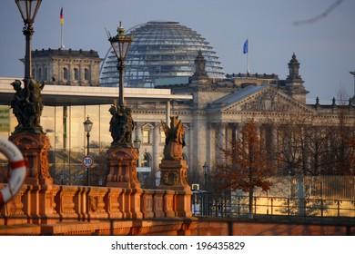 CIRCA JANUARY 2012 - BERLIN: the Reichstags building in the Tiergarten district of Berlin.