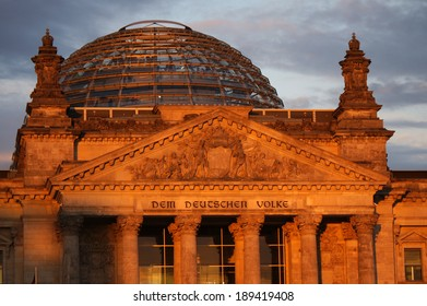 CIRCA JANUARY 2014 - BERLIN: the Reichstags building in Berlin with its characteristic cupola.
