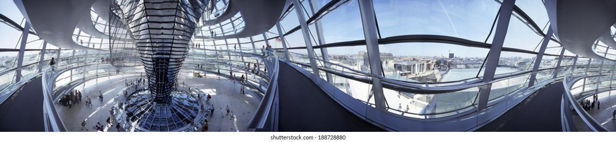 CIRCA JULY 2003 - BERLIN: 420 degree panorama of the interior of the cupola of the Reichstags building in Berlin.