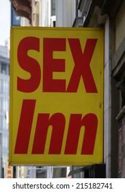 "CIRCA JULY 2014 - FRANKFURT: the logo of the brand ""Sex Inn"", Frankfurt am Main, Germany."