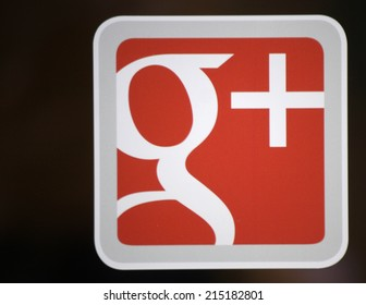 "CIRCA JULY 2014 - FRANKFURT: the logo of the brand ""Google Plus"", Frankfurt am Main, Germany."