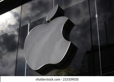 "CIRCA JULY 2014 - FRANKFURT: the logo of the brand ""Apple"", Frankfurt am Main, Germany."