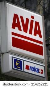 "CIRCA JULY 2014 - INTERLAKEN: the logo of the brand ""Avia"", Interlaken, Switzerland."