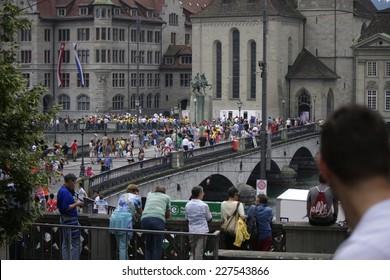 "CIRCA JULY 2014 - ZURICH: impressions from the ""Street Parade"", a techno rave - Zuerich, Switzerland."