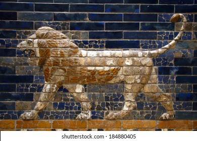 "CIRCA JUNE 2013 - BERLIN: details of the Babylonian ""Ischtar Tor"" (Ishtar Gate) in the Pergamon Museum in Berlin."
