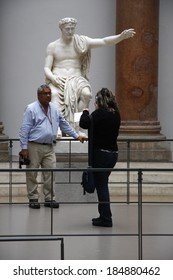CIRCA JUNE 2013 - BERLIN: sculpture with visitors in the Pergamon Museum in Berlin.