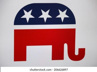 """CIRCA JUNE 2014 - BERLIN: the logo of the political party """"Republicans"""" (USA)."""