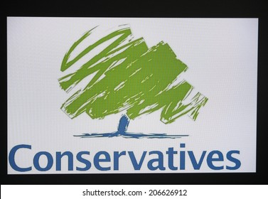 """CIRCA JUNE 2014 - BERLIN: the logo of the political party """"Conservative Party"""" - Tories (Great britain)."""