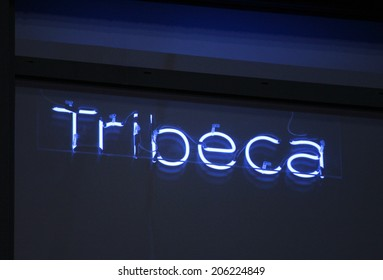 """CIRCA JUNE 2014 - BERLIN: """"Tribeca"""" -  a neon sign with the name of a district of Manhattan in the offices of """"Soundcloud"""" in the """"Factory"""" building, Berlin-Mitte."""