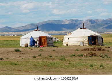 CIRCA KHARKHORIN, MONGOLIA - AUGUST 19, 2006: View to the traditional Mongolian yurts (nomadic tents) located in steppe circa Kharkhorin, Mongolia.