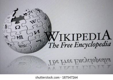 "CIRCA MARCH 2014 - BERLIN: the logo of the brand ""Wikipedia""."