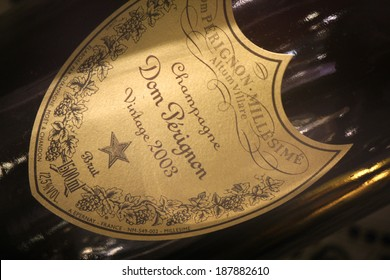"CIRCA MARCH 2014 - BERLIN: the logo of the  brand ""Dom Perignon"", Berlin."