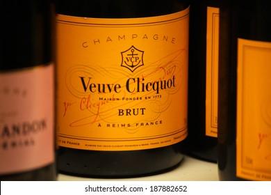 "CIRCA MARCH 2014 - BERLIN: the logo of the brand ""Veuve Clicquot"", Berlin."