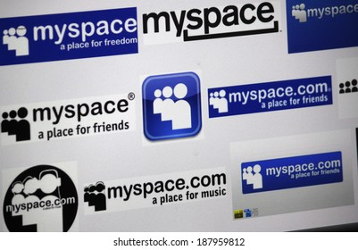 """CIRCA MARCH 2014 - BERLIN: the logo of the brand """"MaySpace""""."""