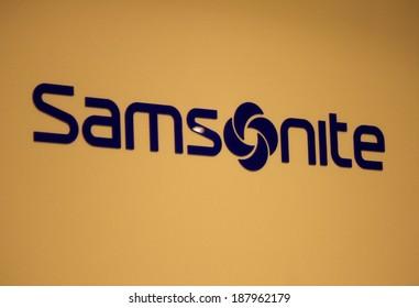 "CIRCA MARCH 2014 - BERLIN: the logo of the brand ""Samsonite"", Berlin."
